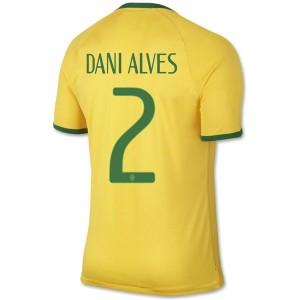 Camiseta nueva Brasil de la Seleccion Dani Alves Primera WC2014