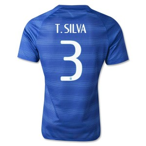 Camiseta de Brasil de la Seleccion WC2014 Segunda T.Silva