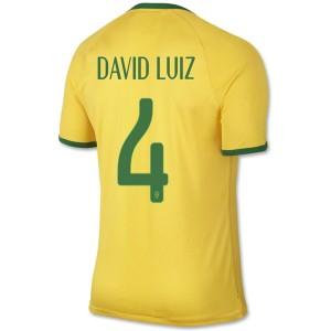 Camiseta del David Luiz Brasil de la Seleccion Primera WC2014