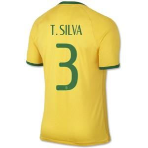 Camiseta del T.Silva Brasil de la Seleccion Primera WC2014