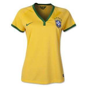 Camiseta de Brasil de la Seleccion WC2014 Primera Mujer