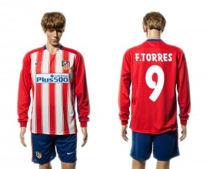 Camiseta nueva Atletico Madrid 9# Manga Larga Primera 15/16